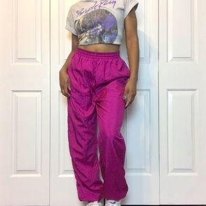 1990's Vintage Magenta Lined Windbreaker Pants